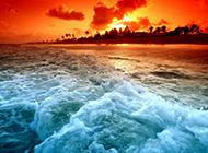海边美妙绝伦的夕阳图片