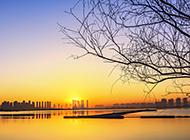 山西省晋阳湖黄昏风景图片欣赏