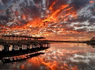 夕阳下的浪漫海景马尔代夫风景图片