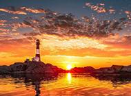 海岛灯塔壮观大自然风景图片