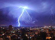 繁华都市自然奇观闪电美景图片