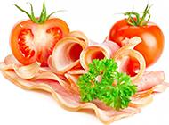 美味的番茄火腿食物图片