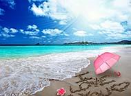 清凉夏日海滩唯美风光图片