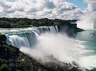 气势磅礴的壮观瀑布彩虹风景壁纸图片