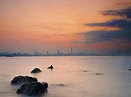 深圳湾海滩夕阳风景高清图片