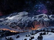 巍峨的山脉夜景风光壁纸赏析