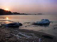 渤海湾美丽的日出摄影图片