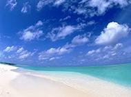 沙滩绿海唯美海滨美景图片
