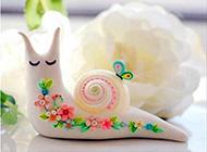 悠哉悠哉的可爱小蜗牛萌图