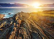 海岸礁石唯美浪漫风景高清壁纸