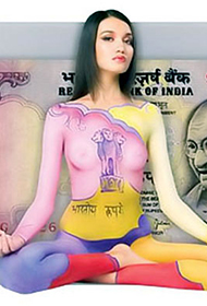 挑战视觉极限 金钱与美女人体彩绘作品