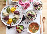 营养健康的五彩饺子图片