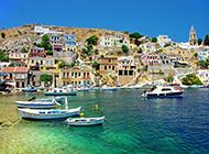 希腊爱琴海圣托里尼岛风景旖旎