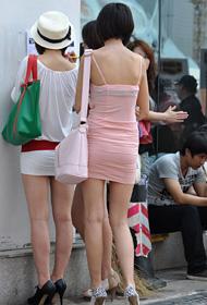 粉嫩系类 街拍超短裙美女