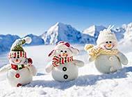 雪地里可爱的小雪人浪漫冬季风景高清选图
