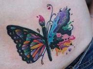 美女蝴蝶腰部纹身图片