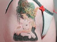 美丽的少女头像纹身图片