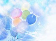 七彩梦幻的气球背景图片素材