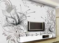 电视背景墙时尚手绘简约装修效果图大全