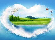 背景图片好看的心形风景海洋