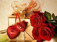 浪漫艳红玫瑰与金色礼盒图片