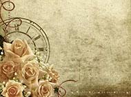 非主流背景图片 复古玫瑰花与牛皮纸背景