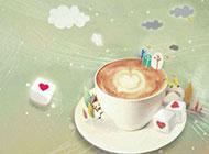 唯美爱心咖啡卡通背景图片