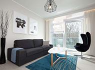 简约淡雅蓝白色调84平米小清新风格公寓设计效果图