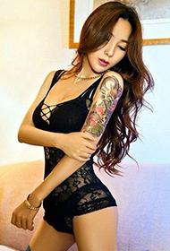 花臂纹身模特vivian芊芊时尚性感美照