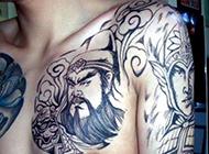 霸气的男性赵云半甲纹身图案