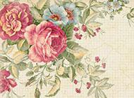 qq复古花卉背景墙图片