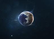 宇宙中的蓝色地球太阳背景图片