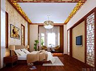 中式古典风情别墅卧室装修效果图