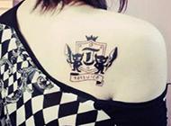 女生后背刺青纹身图案创意个性