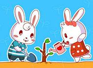 桌面壁纸卡通可爱起跑线兔小贝