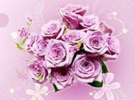 玫瑰花紫色梦幻花纹图片背景
