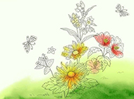 草本植物图片素材素描线条精致