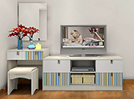 主卧室梳妆台背景墙设计优雅内涵