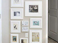 白色时尚创意相片墙隐形门效果图