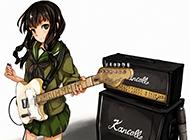 日本动漫黑发美女弹吉他高清图片