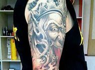 黑白无常手臂花臂刺青纹身图案