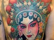 艺术感十足的花旦纹身图片满背