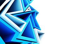 立体几何图形时尚蓝色背景图片