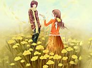 高清卡通浪漫情侣背景图片