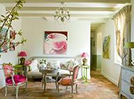 80平米小户型质感纯美客厅田园装修效果图欣赏