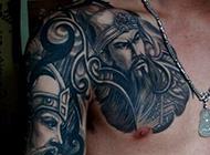 关公半甲纹身图案精美古典
