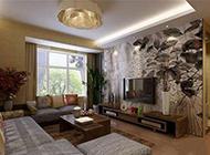 简约中式古典客厅背景墙装修效果图