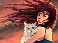 卡通少女素描水彩画素材下载