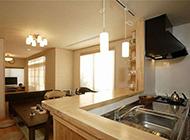 时尚公寓半开放厨房吧台装修效果图
