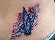 可爱蝴蝶腰部纹身图案